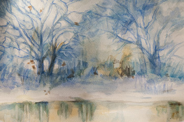 watercolor landscape - winter scenes