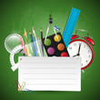 School background with supplies and place for your text