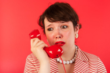 Woman with sad phone call
