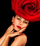 Woman wearing rose hat