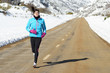 Sport woman running on winter