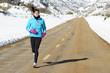 Sport woman running on winter