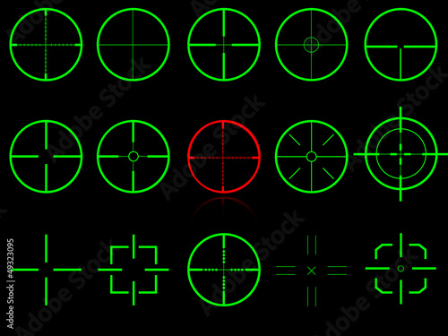 Set of fifteen vector cross hairs, very easy editable