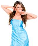 Woman in blue dress
