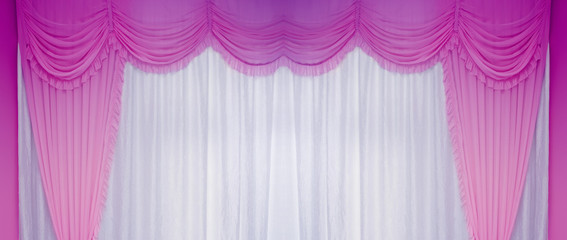 White and purple curtains on the wall, background