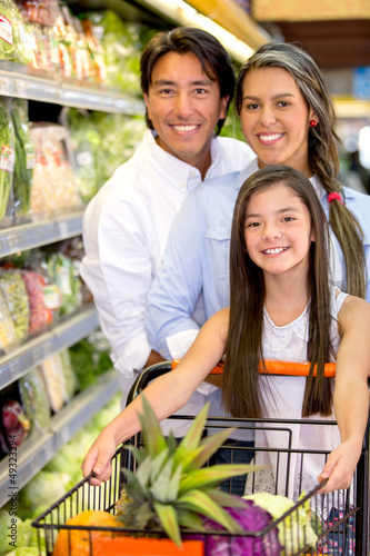 Family shopping for groceries