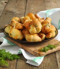 Garlic bread buns seasoned with dill