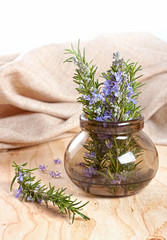 Rosemary herb flower in a glass bowl