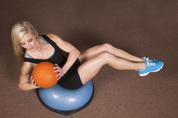 woman twist ball fitness