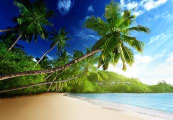 sunset on beach, Mahe island, seychelles