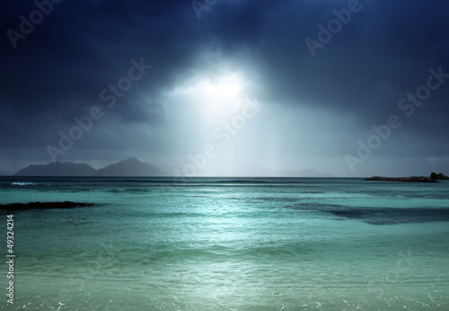 dark sky on the beach of la Digue island, Seychelles