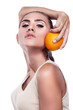 Woman with juice on white background.  Concept vegetarian diet