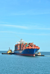 Container stack on freight ship in Black sea, Odessa, ukraine