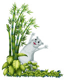 A cheerful animal beside a bamboo tree