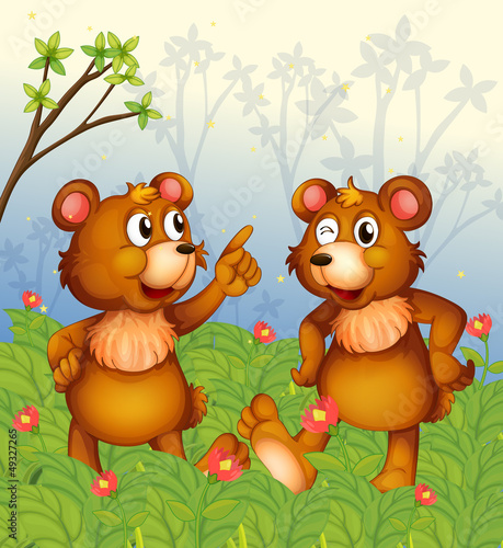 Deurstickers Beren Two bears in the garden