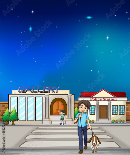 A young boy walking with his dog