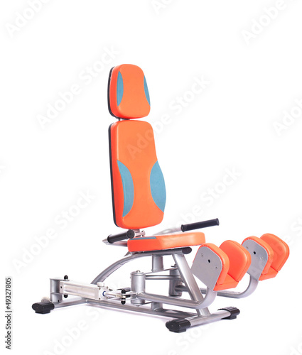 Orange hydraulic exerciser. Isolated on white