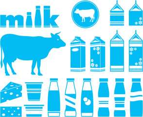 Set icons of milk