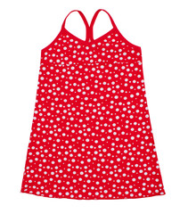 Small red polka dot dress isolated on white Clipping paths