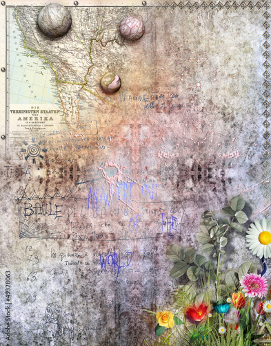 Background with map and flowers