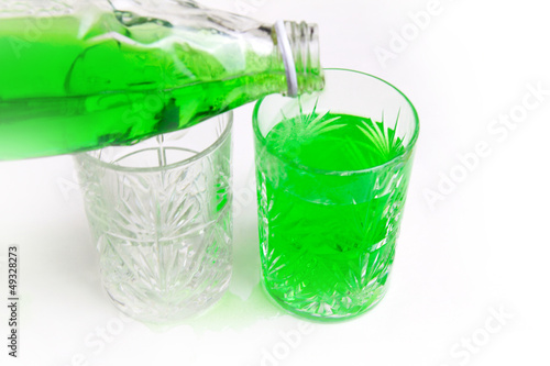 abstract scene with two glass cup and cooled drink