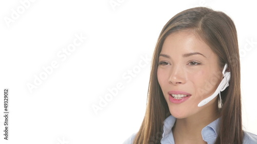 Customer service headset woman talking friendly