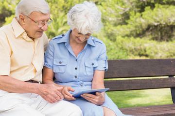 Smiling elderly couple using tablet in the park