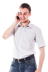 young and handsome man talking on the phone