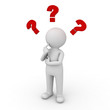 3d man thinking with red question marks over white