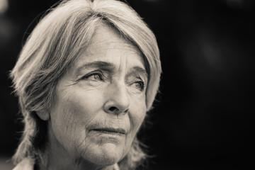 Forlorn older woman