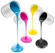 cmyk pouring paints from cans isolated on white