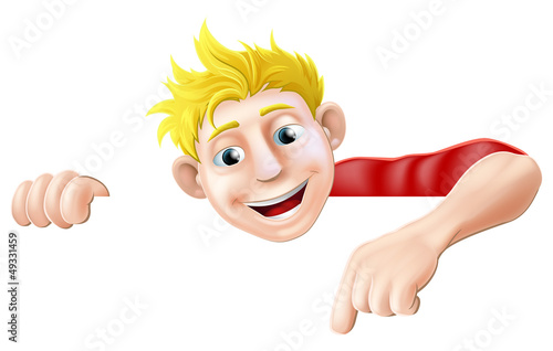 cartoon man pointing