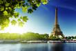 Leinwanddruck Bild - Seine in Paris with Eiffel tower
