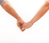 Holding hands couple on white background.
