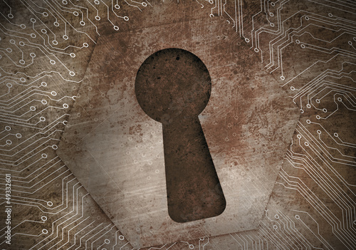 Keyhole on circuit board protecting confidential data