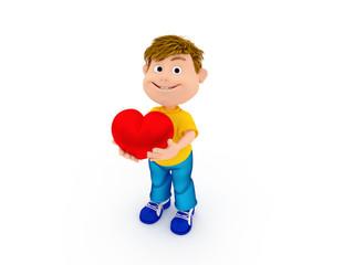 Smiling holding heart