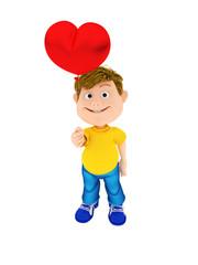 Smiling boy holding a red heart ballon