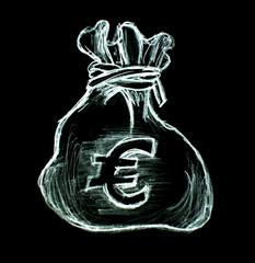 sac de banque argent sur fond noir