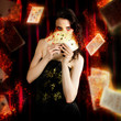 Tarot Magician Holding Magic Fire Cards Of Fate
