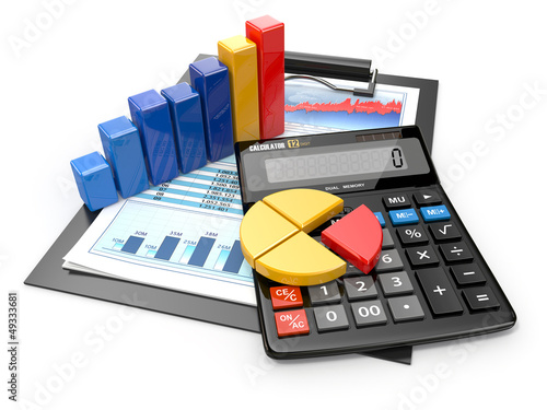 Business analytics. Calculator and  financial reports.