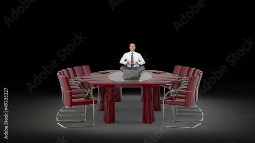 Businessman and Laptop on Office Table Meditating, against black