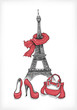 Eiffel Tower, shoes and handbag