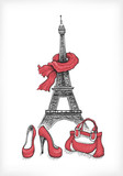Fototapety Eiffel Tower, shoes and handbag