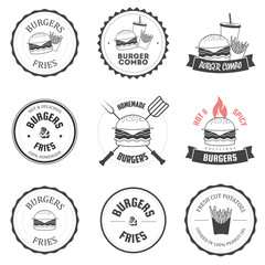 Set of burger and fries restaurant menu design elements