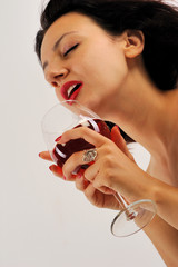Woman in love with red wine isolated white background