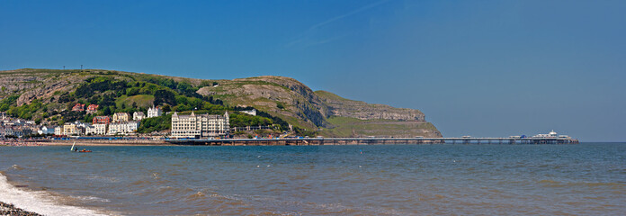 Panoramic shot of Llandudno pier and Great Orme