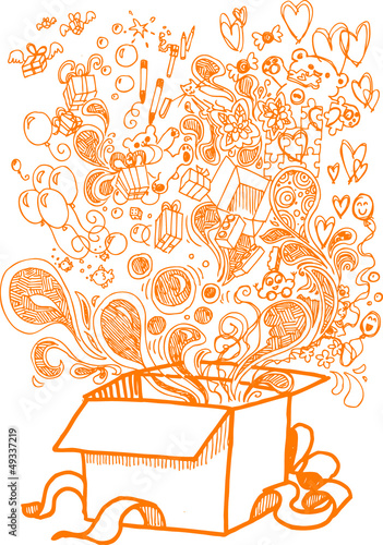 Big present box full of toys, sketchy doodle