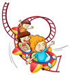 Three children riding in a roller coaster