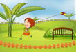 A boy playing kite