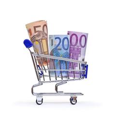 Geld, Euro in Einkaufswagen